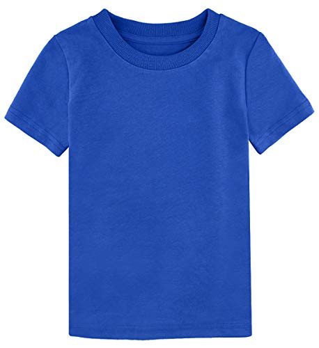 - A&J DESIGN Toddler Boys' Solid Crewneck Heavyweight Casual Tees (Royal Blue, 3T)