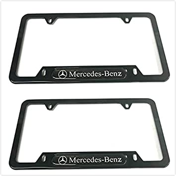 for Mercedes-Benz Wonderchef 2Pack Stainless Steel License Frame with for Mercedes-Benz,with Screw Caps Cover Set-Frosted Silver