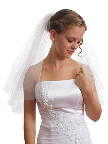 (Women's Bridal Wedding Veil 2 T Cut Edge Shoulder Length VE8A1 by SparklyCrystal)
