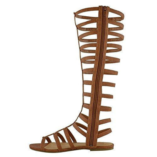 Multi Sandals Gladiator Womens AIWEIYi Knee Brown Strap Zipper Toe Open High Back Casual tPxwv