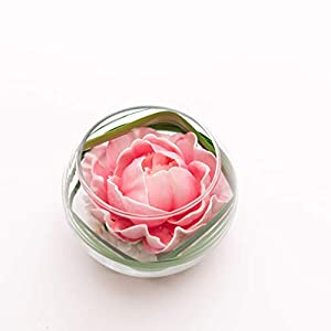 FRP Flowers - Flower Buds in Glass Vase - Real Touch Latex Artificial for Decorations, Centerpieces, Arrangements, or Home/Office Decor (Pink Peony) 2