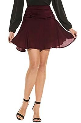 Zeagoo Women's Casual Ruched High Waist Flared Pleated Mini Skater Skirt