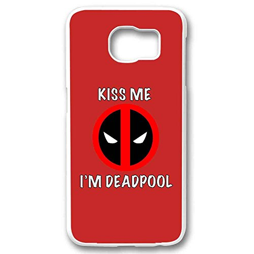 kiss me i'am deadpool For Samsung Galaxy S6 Edge White (Deadpool Walpaper)