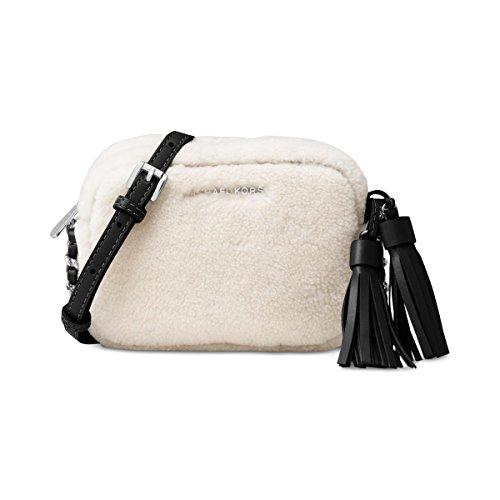 Michael Kors Womens Jet Set Shearling Leather Trim Crossbody Handbag Ivory - Outlet Discount Kors Michael