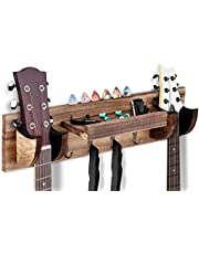 $37 » OTIME Guitar Wall Hanger Double Guitar Holder Wall Mount Ukulele Wall Mount Guitar Stand Wood Hanging Rack with Pick Holder and 4 Hook