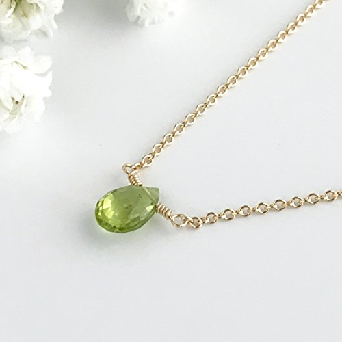 Small Peridot Choker Necklace, August Birthstone, Available in Silver, Gold and Rose Gold, 14 - 18 inches ()