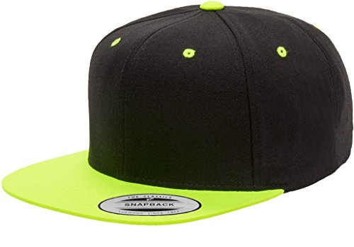 The Hat Pros 6089MT Classic Snapback Pro-Style Wool Cap by Flexfit Two Tone - One Size (Black/Neon - Like Oakley Brands