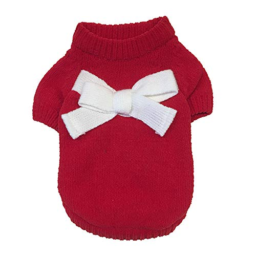 Hpapadks Pet Bow Sweater, Pet Clothes Puppy Solid Color Bow-Knot Sweater Cute Sweater Autumn and Winter,Pet Clothes for Small Dogs