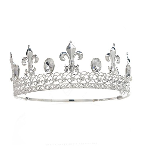Eseres Silver Full King Crown for Men Male Prom Tiaras