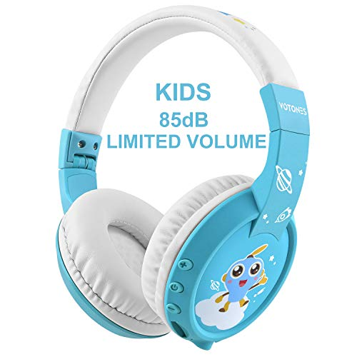 Ucio Kids Headphones for School,Wireless Bluetooth Headphones,Over-Ear/On-Ear, 85db Volume Limiting Headphones for School/Children/Teens/Boys/Girls/Smartphones/Travel (Blue)