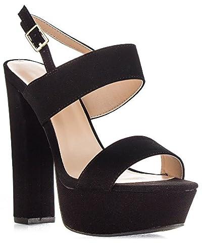Qupid Women's Velvet Open Toe Ankle Strap Chunky Heel Slingback Platform Pump Heeled Sandals BLACK NUBUCK - Slingback Platform Heels