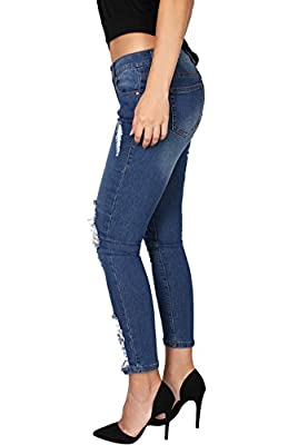 2LUV Women's Stretchy 5 Pocket Denim Skinny Ankle Jeans