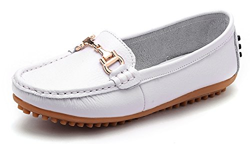 ODEMA Women Ladies Summer Slip On Moccasins Flat Loafer Driving Shoes White