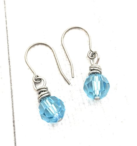 Wire Wrapped Earrings, Aqua Round Swarovski Crystal Element, Titanium (Round French Wire Earrings)