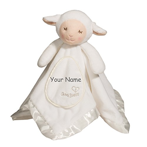 Personalized God Bless White Lamb Lil Snuggler Blanky for Baby Boy or Baby Girl Blanket - 21 - Lamb Baby Personalized