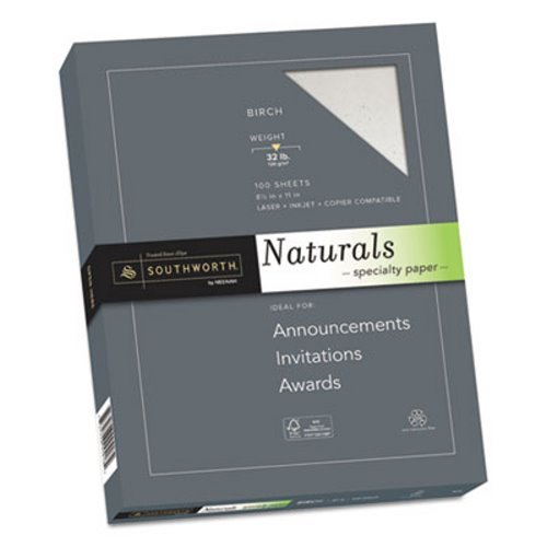 Southworth(R) Naturals Specialty Paper, 8 1/2in. x 11in, 32 Lb, Flecked Finish, Birch, 100 Sheets
