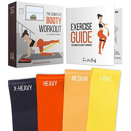 Tone that Body Booty Resistance Bands for Legs and Butt | Full Exercise Guide and Online Workout Videos Included I Best for Glute Workout (Booty Exercises To Make Your Booty Bigger)