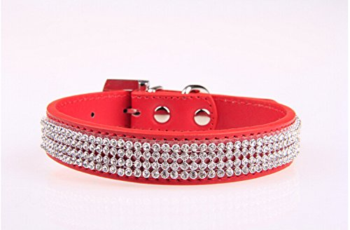 Fashion Shop Princess Rhinestone PU Puppy Pet Collar for Small / Medium Cats or Dogs (M 2.040cm, Red) ()