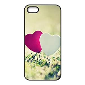 IPhone 5,5S Case 2 Hearts on the Grass, IPhone 5,5S Case Heart & Love, [Black]