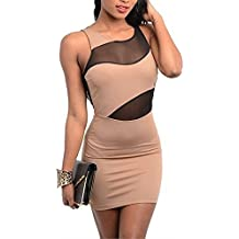 Sexy Open Back Backless Beige Brown Black Mesh Color Block Club Dress