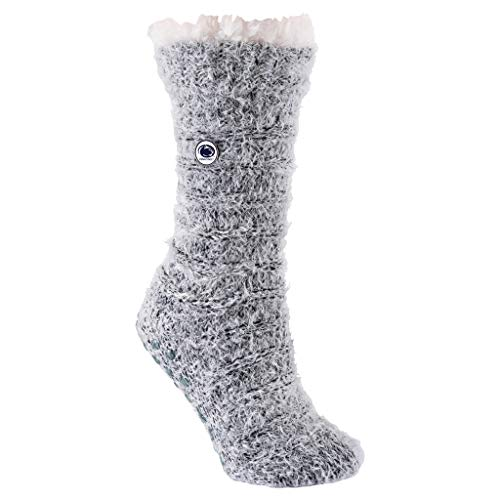 TCK Brands Penn State University Nittany Lions Snow Christie Black and Ivory Feather Yarn Sherpa Fleece Lined Cozy Slipper Sock with Non-Skid Grippers