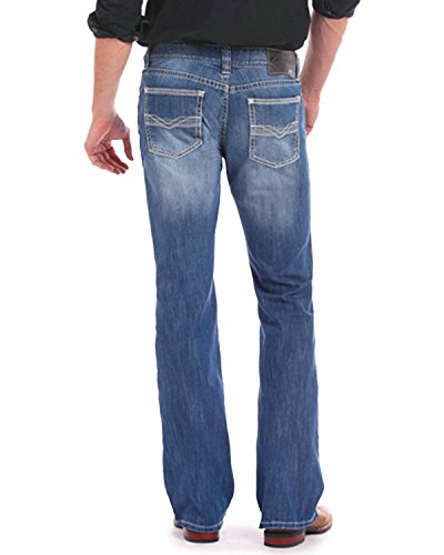 Rock & Roll Cowboy Men's and Reflex Pistol Jeans Boot Cut Indigo 32W x (Cowboy Stretch Jeans)