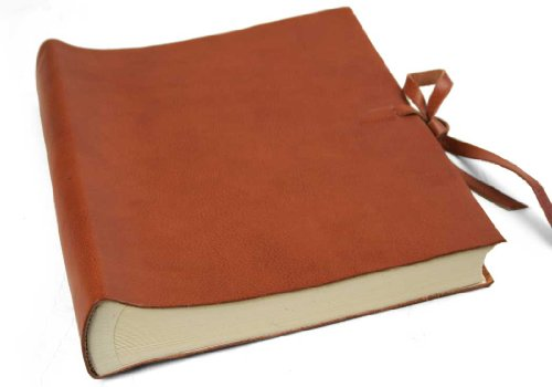 LEATHERKIND Rustico Leather Photo Album Saddle Brown, Large Classic Style Pages - Handmade in Italy ()