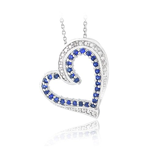 - Glitzs Jewels Silver Tone Over Brass Lab Simulated Sappire & Simulated Diamond Accent Floating Heart Necklace, 18''