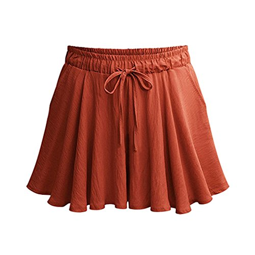Gooket Women's Elastic Waist Casual A Line Culottes Wide Leg Shorts with Drawstring Brick Red Tag 5XL-US 16