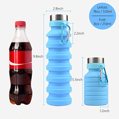 Rene-Maurice Silicone Portable Leak Proof Foldable 550ML Water Bottle - BPA Free & FDA Approved (550ml, Blue)