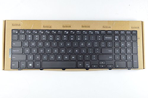 Eathtek Replacement Keyboard with Frame for Dell Inspiron 5547 15 17 3000 5000 5542 5545 3541 3542 3543 15-5000 17-5000 15-5547 15-5545 15.6 Series Black US Layout