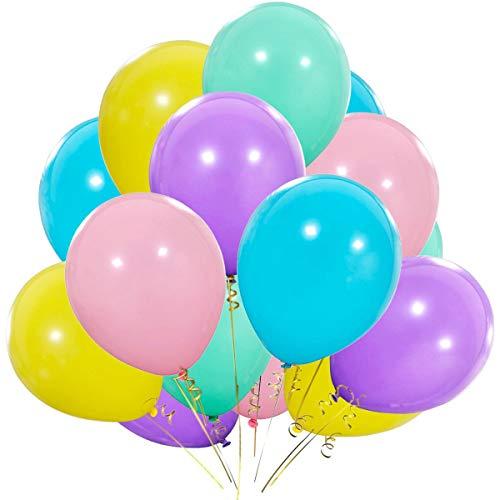 - BUENAVO Pastel Rainbow Balloons - 12 Inch Purple Yellow Aqua Blue Light Pink Latex Balloon for 1st Unicorn Birthday Party Decorations, ice Cream Baby Shower, Bridal Shower 100pcs