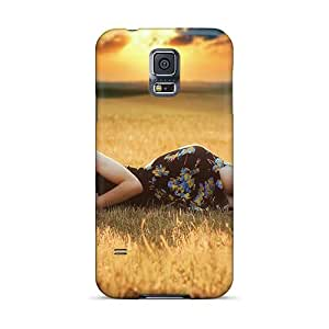 Hot Ynz11128hGPC Cases Covers Protector For Galaxy S5- Girl Sleep On Field