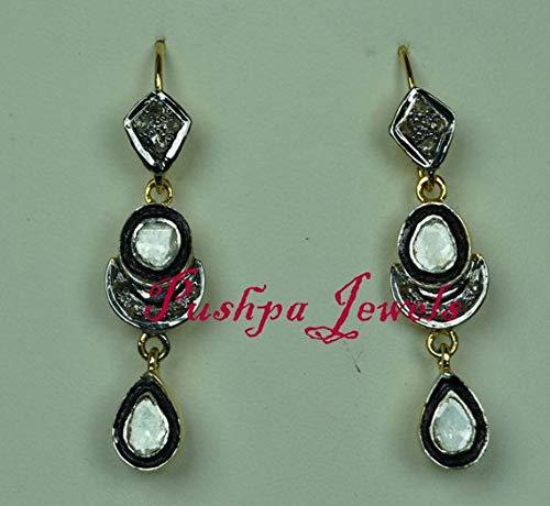 Victorian Style 2.50ctw Rose cut Diamonds Polki Sterling Silver Statement Long Danglers Wedding ()