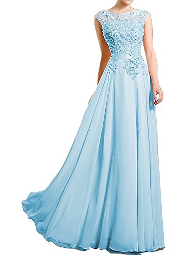 Blue Beading Lace A Gown Line Dress HONGFUYU S4sky Prom Neck High Gorgeous Evening 86qRx7wS