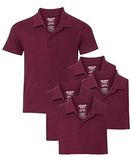 [Gildan Youth School Uniform Pack of 5 Pique Polo Sport Shirts, S, Maroon] (Maroon Kids Shirt)