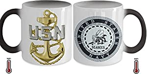 Seabees Chief Petty Officer (CPO) Color Changing Coffee Mug with CPO Rank on Front and SEABEES Eblem on Back by Gearbubble