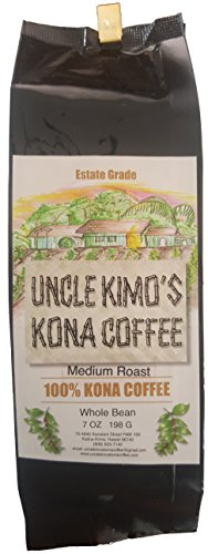 Uncle Kimo's Kona Coffee - 100% Total Fancy Hawaiian Beans, Not a Blend - Kona Whole Bean - Gourmet Medium Roast - Grown on Real Hawaii Volcanic Dregs and Freshly Roasted