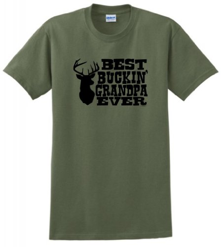 Best Buckin' Grandpa Ever T-Shirt XL Military ()