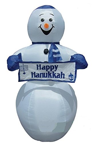 7.5 Ft Tall Lighted Airblown Chanukah Yarmulke Snowman with Happy Hanukkah Sign Banner Inflatable Outdoor Decor Blue White Holiday Decoration ()