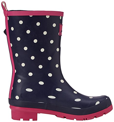 Joules Womens Molly Welly Rain Boot Navy Spot White HSGp1yME