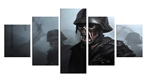 Cod Black Ops Costumes (Zombie Apocalypse Canvas Wall Decor - 5 Pieces Appreciation Wall Art - Oil Painting - Unframed - Stuff Birthday Party Gift - Halloween Bathroom Aquarium Themed Decorations #06)