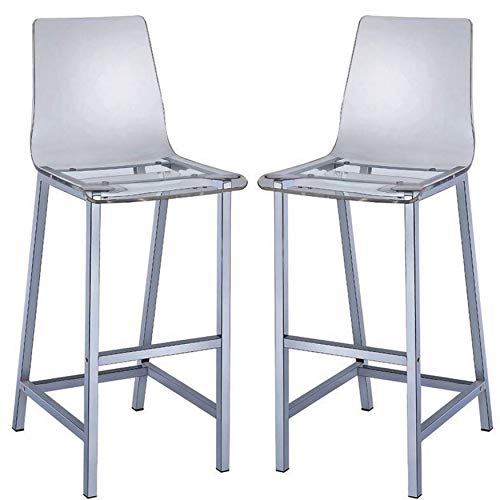 A Line Furniture Melaney Art Deco Sleek Design Clear Acrylic Bar Stools (Set of 2)