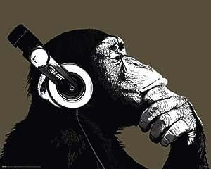 Empire 523044 - Póster de chimpancé con auriculares (50 x 40 cm)