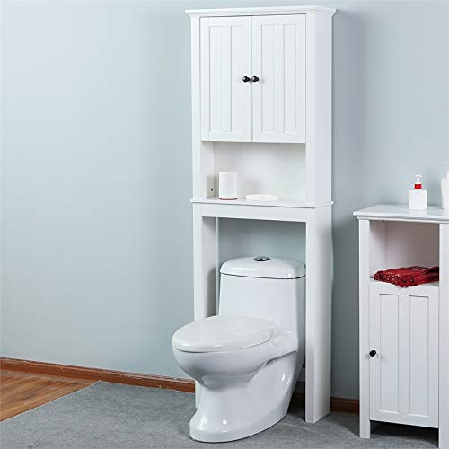 White Wood Space Saver Bathroom Cabinet
