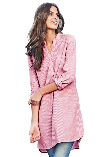 Ellos Women's Plus Size Striped Henley Tunic - Bright Cherry Stripe, - Long Sleeve Striped Shirt Henley