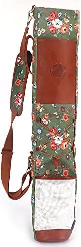 TOURBON Canvas Golf Bag for Women Driving Range Travel Course Club Carry Case