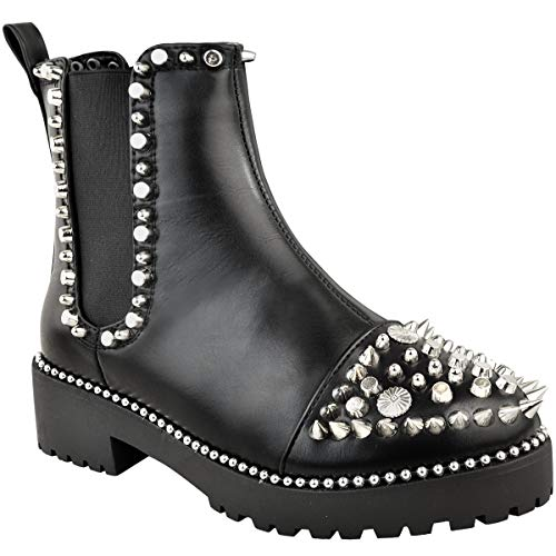 Fashion Thirsty Womens Studded Stud Ankle Boots Spike Chunky Punk Goth Size 8