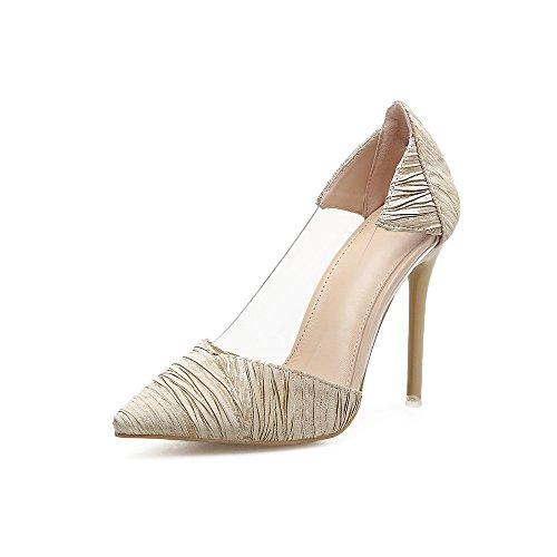 ZHZNVX Fine Pointe avec des Chaussures de Talon Bouche Peu Profonde en Plastique Verre Sexy Femmes Chaussures Chaussures de Mariage, Beige 39