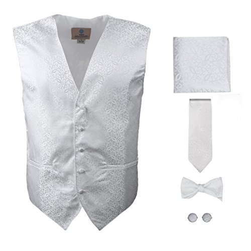 White Paisley Formal Vest for Men Patterned for Mens Gift Idea with Neck Tie, Cufflinks, Handkerchief, Bow Tie for Suit Vs1004-L Large White